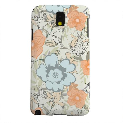 Geeks Designer Line (GDL) Samsung Galaxy Note 3 Matte Hard Back Cover - Butterflies & Birds on Orange/ Blue