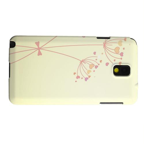 Geeks Designer Line (GDL) Samsung Galaxy Note 3 Matte Hard Back Cover - Dandelion Hearts on Yellow