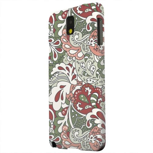 Geeks Designer Line (GDL) Samsung Galaxy Note 3 Matte Hard Back Cover - Green/ Red/ Pink Paisley