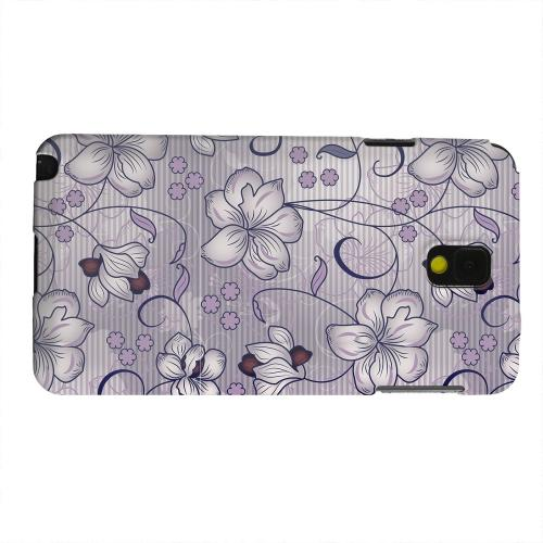 Geeks Designer Line (GDL) Samsung Galaxy Note 3 Matte Hard Back Cover - Floral Stripes Hint of Purple