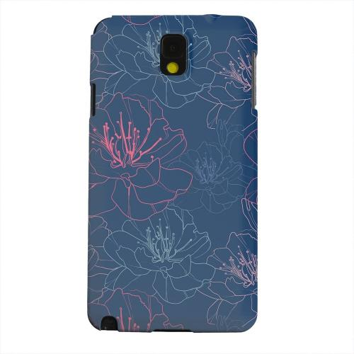 Geeks Designer Line (GDL) Samsung Galaxy Note 3 Matte Hard Back Cover - Flower Outline on Blue