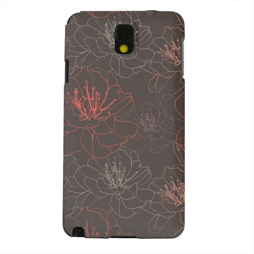 Geeks Designer Line (GDL) Samsung Galaxy Note 3 Matte Hard Back Cover - Flower Outline on Brown