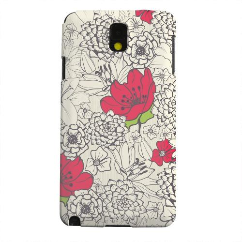 Geeks Designer Line (GDL) Samsung Galaxy Note 3 Matte Hard Back Cover - Flower Outline Red Accent