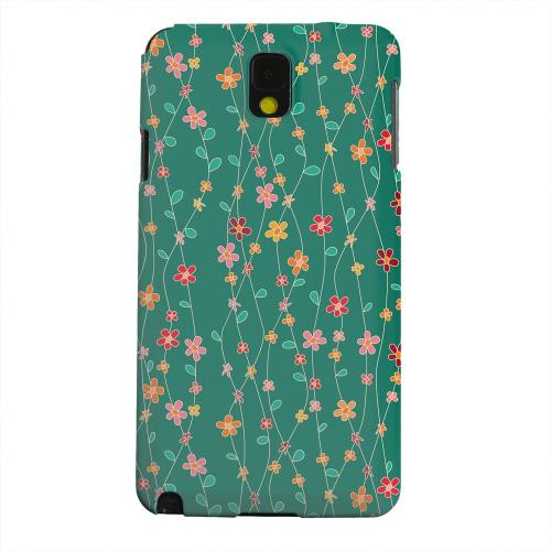 Geeks Designer Line (GDL) Samsung Galaxy Note 3 Matte Hard Back Cover - Flowers & Vines on Green