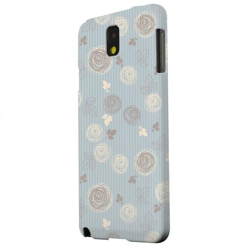 Geeks Designer Line (GDL) Samsung Galaxy Note 3 Matte Hard Back Cover - Leaves Scribble Blue/ Brown