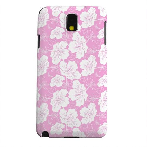 Geeks Designer Line (GDL) Samsung Galaxy Note 3 Matte Hard Back Cover - White Hibiscus on Pink