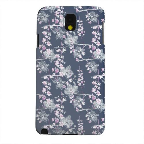 Geeks Designer Line (GDL) Samsung Galaxy Note 3 Matte Hard Back Cover - Pink/ White Floral on Blue