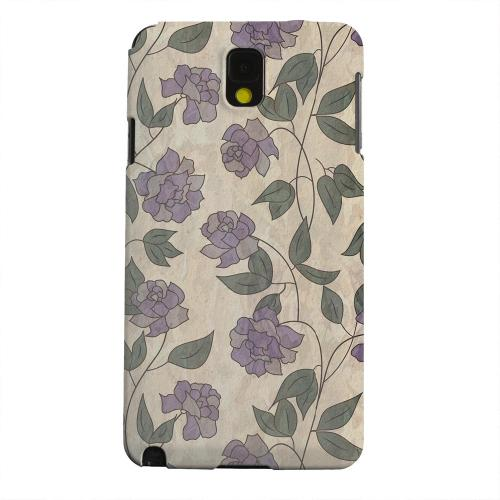 Geeks Designer Line (GDL) Samsung Galaxy Note 3 Matte Hard Back Cover - Purple Flowers & Vines Wallpaper