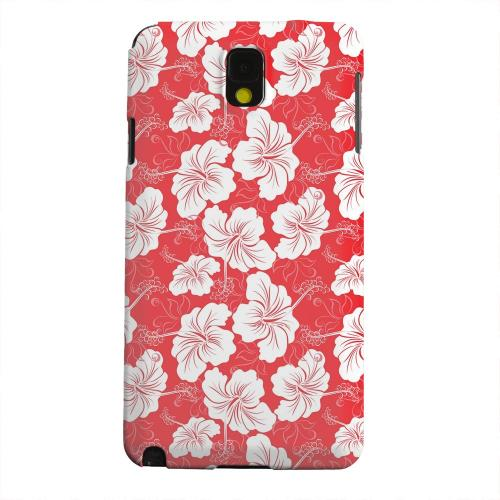 Geeks Designer Line (GDL) Samsung Galaxy Note 3 Matte Hard Back Cover - White Hibiscus on Red