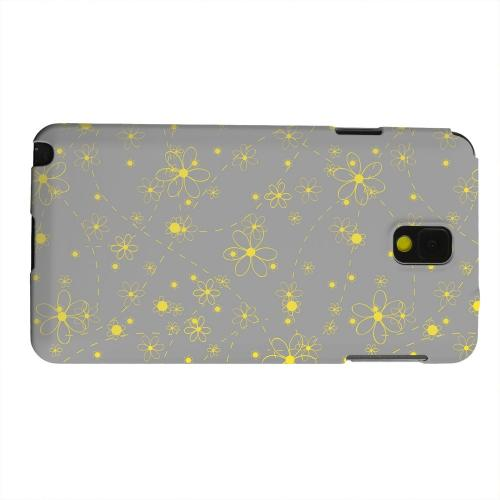 Geeks Designer Line (GDL) Samsung Galaxy Note 3 Matte Hard Back Cover - Yellow Daisies on Gray
