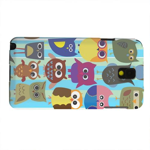 Geeks Designer Line (GDL) Samsung Galaxy Note 3 Matte Hard Back Cover - Colorful Owls on Blue/Green Stripes