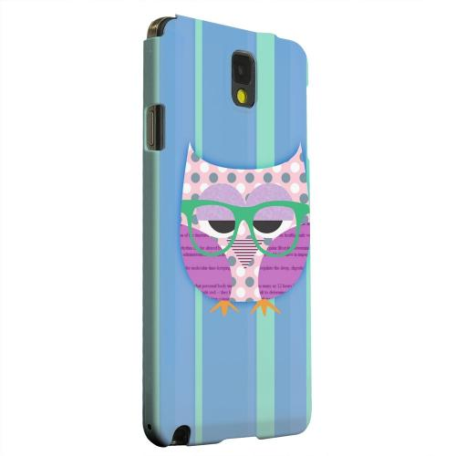Geeks Designer Line (GDL) Samsung Galaxy Note 3 Matte Hard Back Cover - Hipster Owl on Blue/Green Stripes