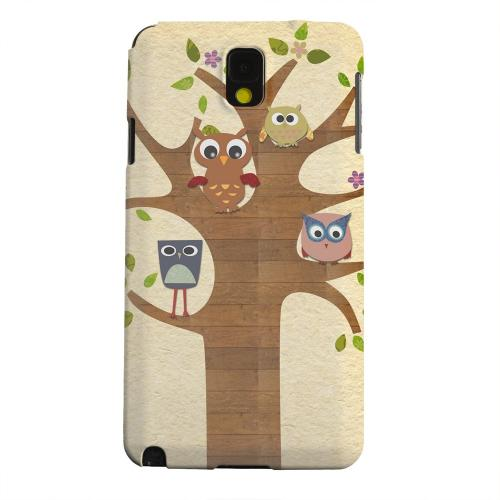 Geeks Designer Line (GDL) Samsung Galaxy Note 3 Matte Hard Back Cover - Owls on Brown Tree