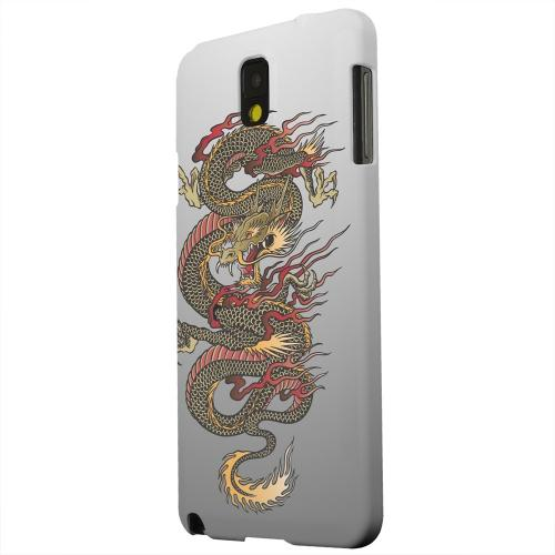 Geeks Designer Line (GDL) Samsung Galaxy Note 3 Matte Hard Back Cover - Dragon on Gray Gradient