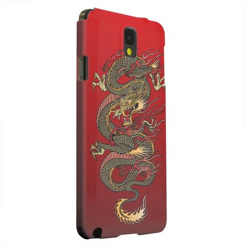 Geeks Designer Line (GDL) Samsung Galaxy Note 3 Matte Hard Back Cover - Dragon on Red Gradient