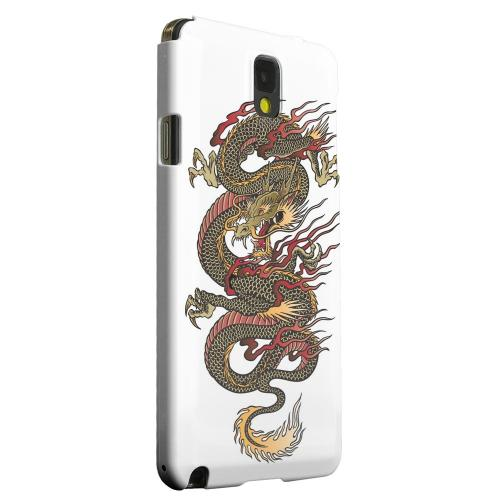 Geeks Designer Line (GDL) Samsung Galaxy Note 3 Matte Hard Back Cover - Dragon on White