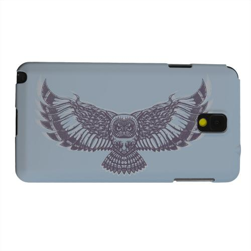 Geeks Designer Line (GDL) Samsung Galaxy Note 3 Matte Hard Back Cover - Flying Owl Blue/ Gray