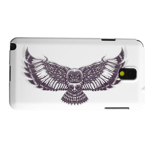 Geeks Designer Line (GDL) Samsung Galaxy Note 3 Matte Hard Back Cover - Flying Owl on White