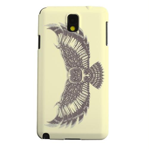 Geeks Designer Line (GDL) Samsung Galaxy Note 3 Matte Hard Back Cover - Flying Owl on Yellow
