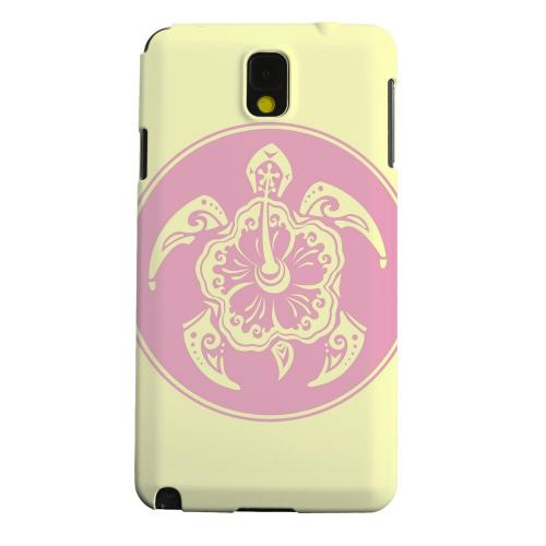Geeks Designer Line (GDL) Samsung Galaxy Note 3 Matte Hard Back Cover - Pink Island Turtle Solo on Yellow