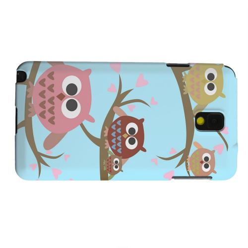 Geeks Designer Line (GDL) Samsung Galaxy Note 3 Matte Hard Back Cover - Round Owl Hangout