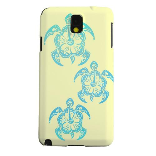 Geeks Designer Line (GDL) Samsung Galaxy Note 3 Matte Hard Back Cover - Blue Island Turtle Trail on yellow