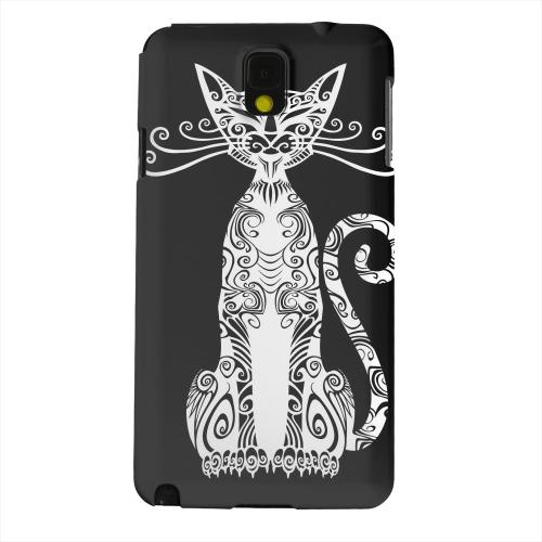 Geeks Designer Line (GDL) Samsung Galaxy Note 3 Matte Hard Back Cover - Kitty Nouveau on Black