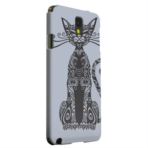 Geeks Designer Line (GDL) Samsung Galaxy Note 3 Matte Hard Back Cover - Kitty Nouveau on Blue/ Gray