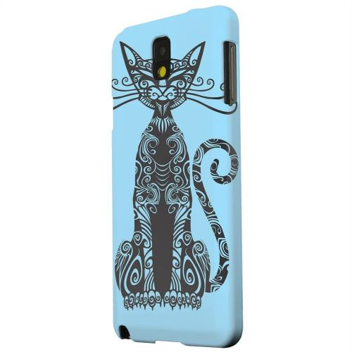 Geeks Designer Line (GDL) Samsung Galaxy Note 3 Matte Hard Back Cover - Kitty Nouveau on Light Blue