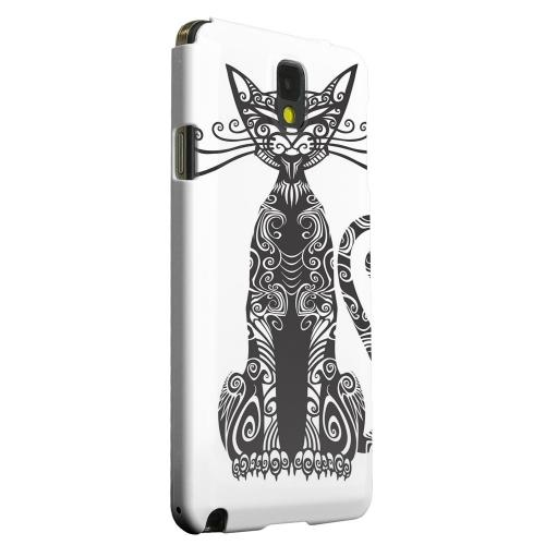 Geeks Designer Line (GDL) Samsung Galaxy Note 3 Matte Hard Back Cover - Kitty Nouveau on White