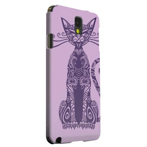Geeks Designer Line (GDL) Samsung Galaxy Note 3 Matte Hard Back Cover - Kitty Nouveau on Purple
