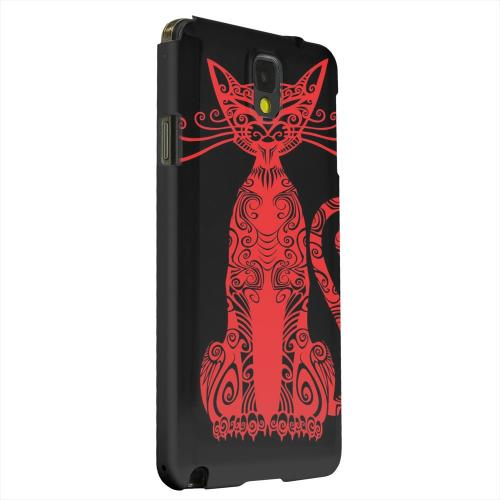 Geeks Designer Line (GDL) Samsung Galaxy Note 3 Matte Hard Back Cover - Red Kitty Nouveau on Black