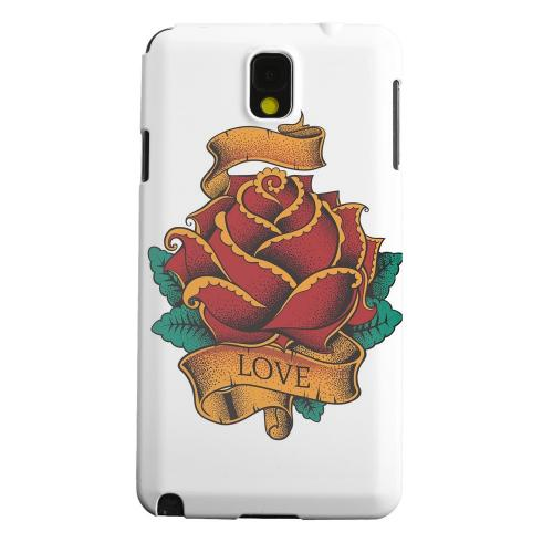Geeks Designer Line (GDL) Samsung Galaxy Note 3 Matte Hard Back Cover - Love Rose on White