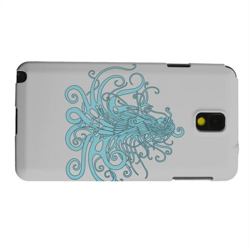 Geeks Designer Line (GDL) Samsung Galaxy Note 3 Matte Hard Back Cover - Aqua Medusa on White