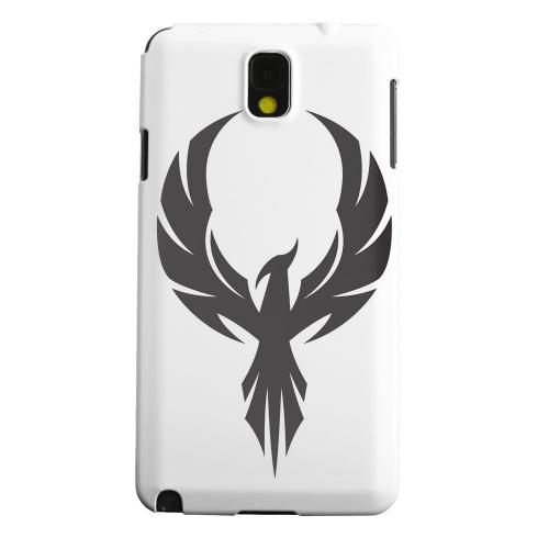 Geeks Designer Line (GDL) Samsung Galaxy Note 3 Matte Hard Back Cover - Black Phoenix on White