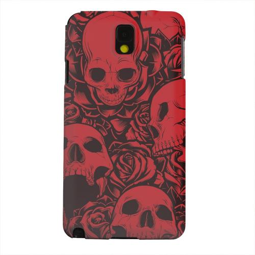 Geeks Designer Line (GDL) Samsung Galaxy Note 3 Matte Hard Back Cover - Skulls Rose Red/ Black