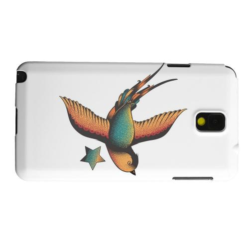 Geeks Designer Line (GDL) Samsung Galaxy Note 3 Matte Hard Back Cover - Swallow Star on White