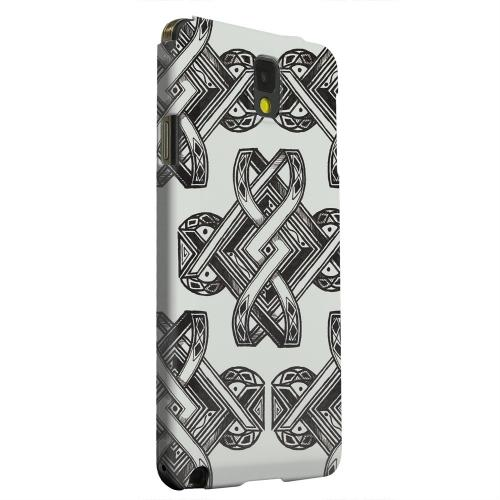 Geeks Designer Line (GDL) Samsung Galaxy Note 3 Matte Hard Back Cover - Tribal Art on Gray