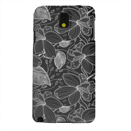 Geeks Designer Line (GDL) Samsung Galaxy Note 3 Matte Hard Back Cover - White on Black Orchid Lines