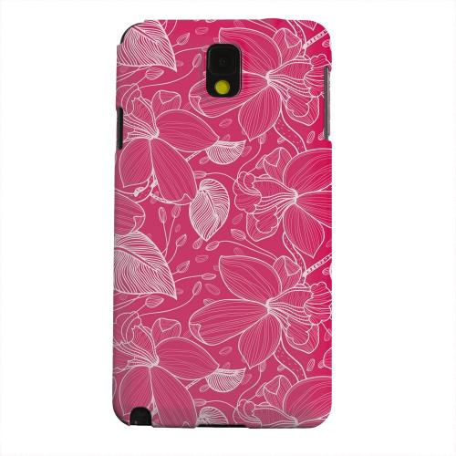 Geeks Designer Line (GDL) Samsung Galaxy Note 3 Matte Hard Back Cover - White on Pink Orchid Lines