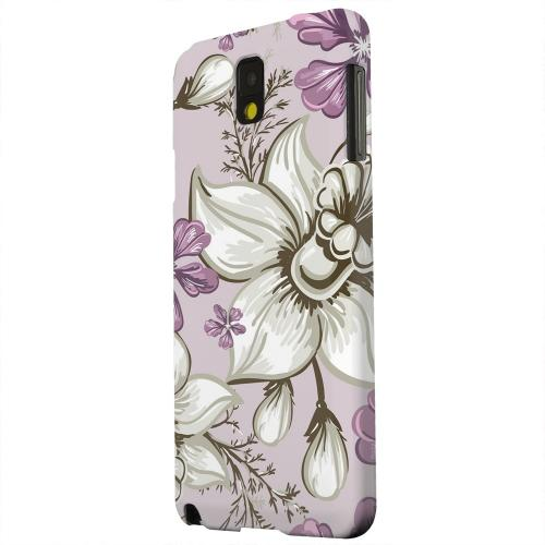Geeks Designer Line (GDL) Samsung Galaxy Note 3 Matte Hard Back Cover - White and Violet Orchids