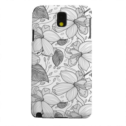 Geeks Designer Line (GDL) Samsung Galaxy Note 3 Matte Hard Back Cover - Black on White Orchid Lines