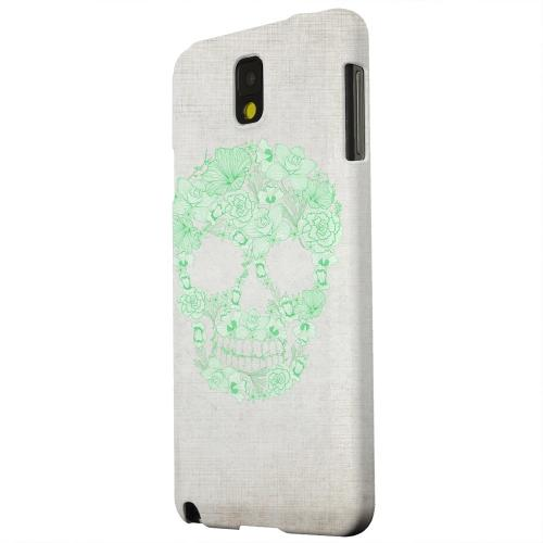 Geeks Designer Line (GDL) Samsung Galaxy Note 3 Matte Hard Back Cover - Floral Green Skull on Canvas