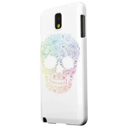 Geeks Designer Line (GDL) Samsung Galaxy Note 3 Matte Hard Back Cover - Floral Rainbow Skull on White