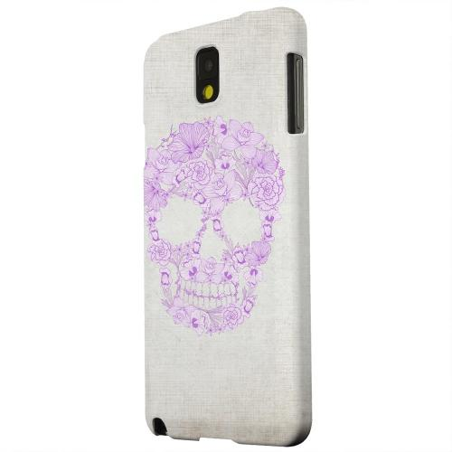 Geeks Designer Line (GDL) Samsung Galaxy Note 3 Matte Hard Back Cover - Floral Violet Skull on Canvas
