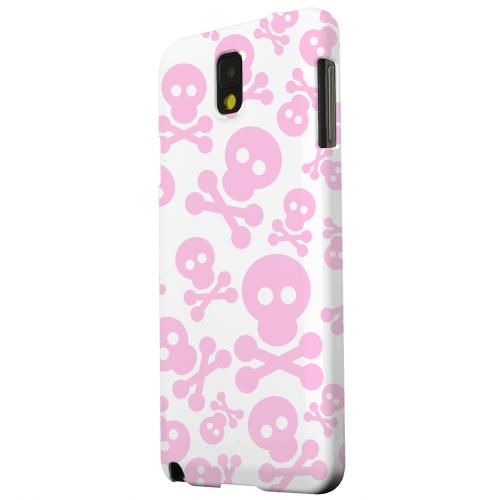 Geeks Designer Line (GDL) Samsung Galaxy Note 3 Matte Hard Back Cover - Skull Face Invasion Pink on White