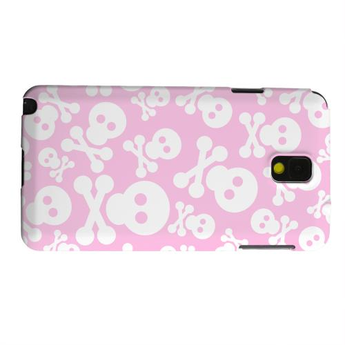 Geeks Designer Line (GDL) Samsung Galaxy Note 3 Matte Hard Back Cover - Skull Face Invasion White on Pink