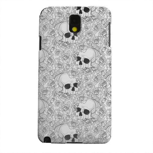 Geeks Designer Line (GDL) Samsung Galaxy Note 3 Matte Hard Back Cover - Thorn Skull Black White Halftone