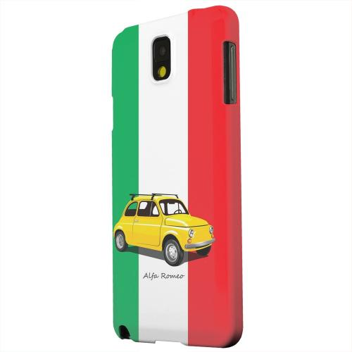 Geeks Designer Line (GDL) Samsung Galaxy Note 3 Matte Hard Back Cover - Yellow Alfa Romeo on Green/ White/ Red