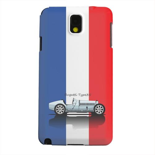 Geeks Designer Line (GDL) Samsung Galaxy Note 3 Matte Hard Back Cover - Bugatti Type 35S on Blue/ White/ Red